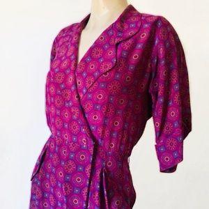 Vintage 1980's 100%Silk Wrap Front Dress